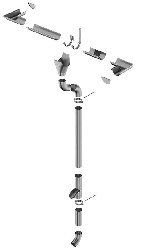 titánzinkový odkvapový systém PATINA GREY